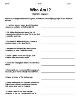 Who Am I? Roanoke Voyages-Worksheet Activity with Acrostic