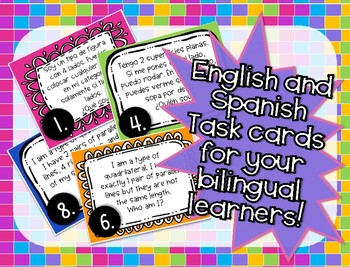 Who Am I - Shapes & Solids Attributes Task Cards (English and Spanish)