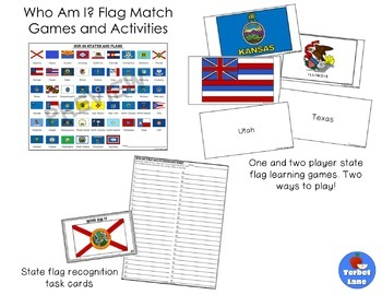 State Flags Matching Cards Games and Activities