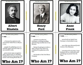 Who Am I: The 20th Century Edition (Classroom Trivia and Review Flash Cards)