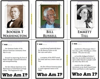Black History Month: Who Am I Flash Cards! Trivia for Black History Month!