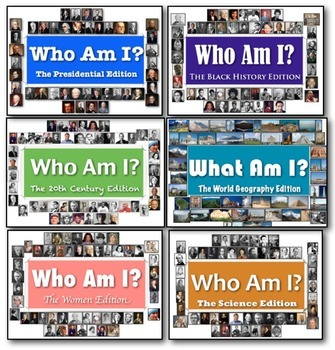 Who Am I: The Flash Card Bundle! 6 Editions for World & American History! Fun!