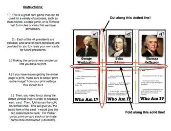 Who Am I: The American Presidents Edition (Classroom Trivia and Review Cards)