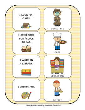 Who Am I? What Do I Do? Matching Game (WH-Questions) SLP