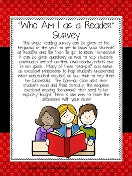 """""""Who Am I as a Reader?"""" Survey"""