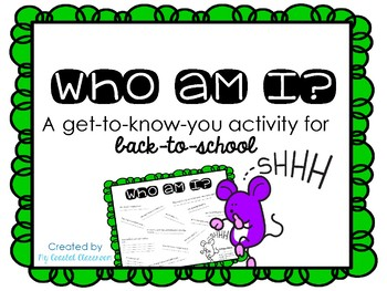 Who Am I get-to-know-you Back-to-School Activity