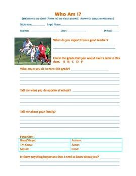 Who Am I? - personal information sheet survey homeroom cumulative phone log