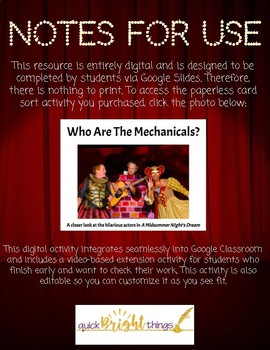 Who Are The Mechanicals?: A Paperless Card Sort