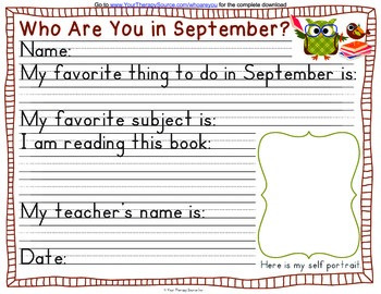 Who Are You In September?  Handwriting Activity