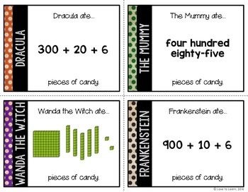 Who Ate the Most Candy? - Halloween Task Cards for Representing Numbers