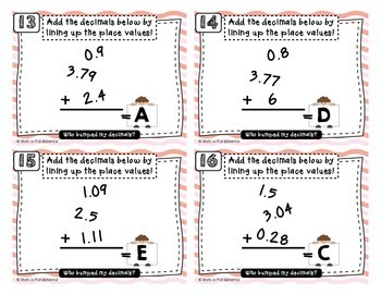 Who Bumped My Decimals? Addition of Decimals Task Cards CCSS  5.NBT.B.7