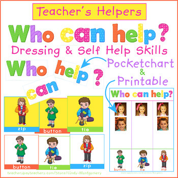 Who Can Help? Zipping, Tying, Buttoning Pocketchart Pictograph