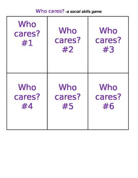 Who Cares? A Social Skills Game