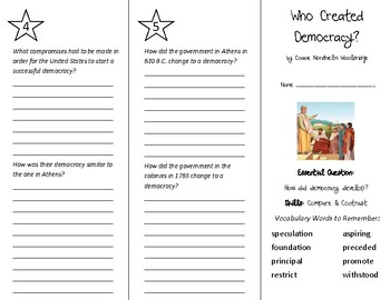 Who Created Democracy Trifold - Wonders 6th Grade Unit 2 Week 2