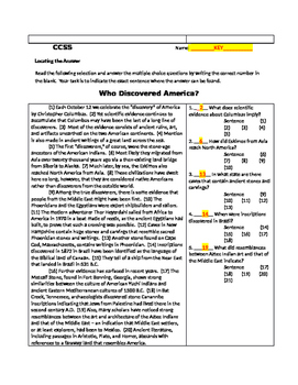 Who Discovered America? COMMON CORE Bellwork with Key