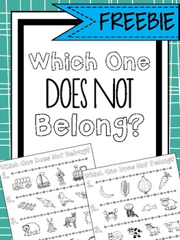 Which One Does Not Belong? Print & Go Worksheets for Exclusion ...