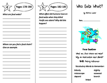 Who Eats What Trifold - Imagine It 4th Grade Unit 2 Week 3