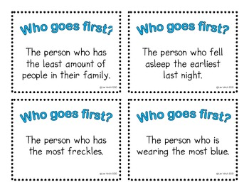 Who Goes First Task Cards