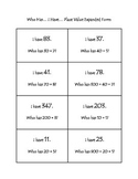 Who Has... I Have... Place Value Expanded Form