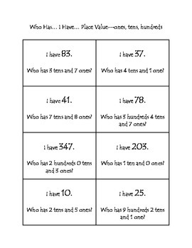 Who Has... I Have... Place Value - Ones, Tens, Hundreds