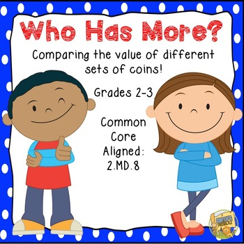 Money - Who Has More?  Comparing the value of sets of coins!  WAR GAME Gr. 2-3