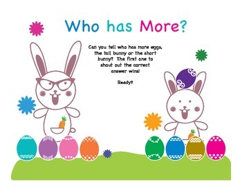 Who Has More: Kindergarten Subitizing and Comparing Numbers, Easter version