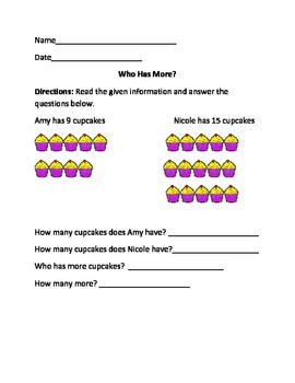 Who Has More- Math Worksheets