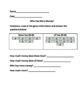 Who Has More Money-Math Worksheets