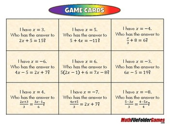 Who Has My Pair - 8th Grade Game [CCSS 8.EE.C.7b]