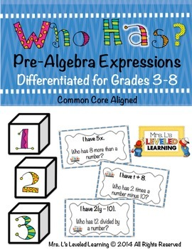 Who Has Pre-Algebra Expressions Card Game Sets for Grades 3-8