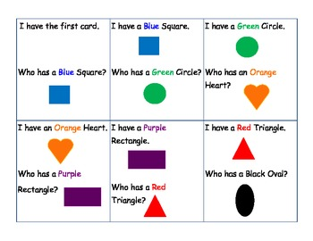 Who Has Shapes and Colors Game