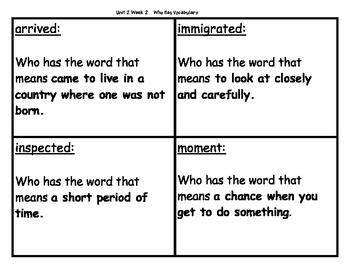 Who Has Vocab Game Unit 2 Week 2