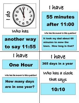 Who Has _____? Game for Telling Time