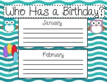 Who Has a Birthday? (Birthday owl poster)