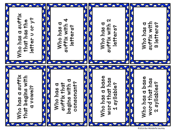 Who Has a Suffix? Suffix Card Game for Grades 3-5
