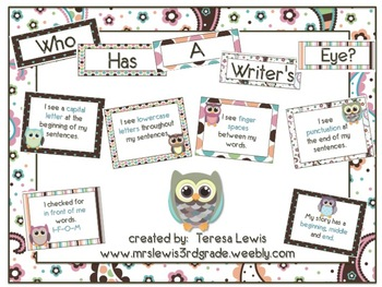 Who Has a Writer's Eye Poster Set Owl Themed