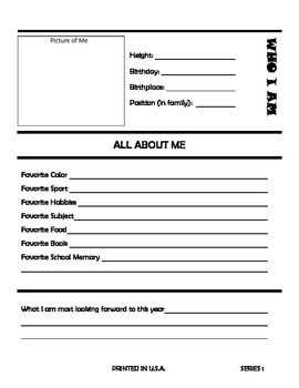 Who I Am - Beginning of Year Getting To Know You Worksheet - Letter Size