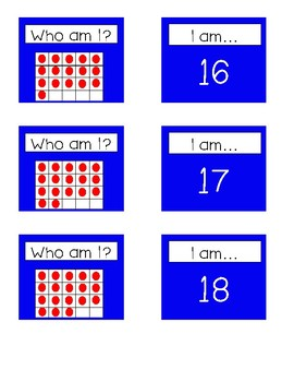 Who I am? Tens Frame Matching Teen Number Cards