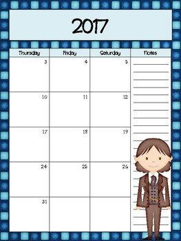 Who Inspired Monthly and  Weekly Calendar Refill 2017-2018