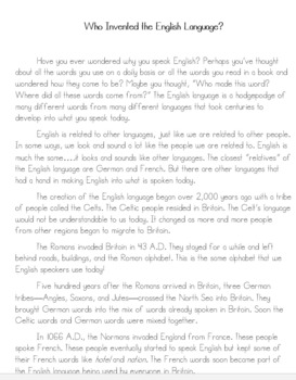 Who Invented the English Language Text and Multiple Choice Questions