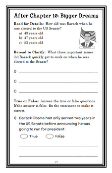 Who Is Barack Obama? (Roberta Edwards) Book Study / Reading Comprehension