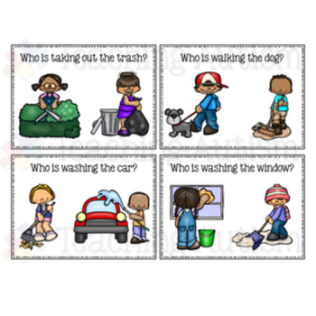 Verb Recognition Task Cards Outdoor Chores