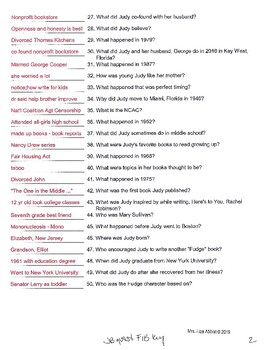 Who Is Judy Blume question resources