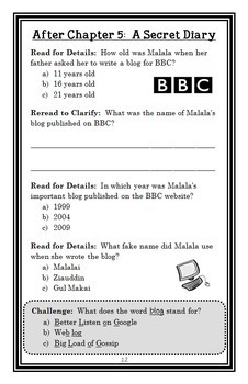 Who Is Malala Yousafzai? (Dinah Brown) Book Study / Comprehension  (26 pages)