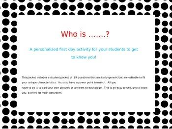 Who Is (My Teacher) Beginning of School Activity