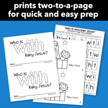 """Interactive Sight Word Reader """"Who Is With Baby Jesus?"""""""