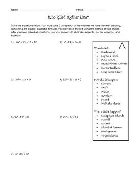 Who Killed Mother Line - Solving Quadratic Equations