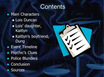 Who Killed My Daughter PowerPoint, Facts & Predictions Worksheet, & Test