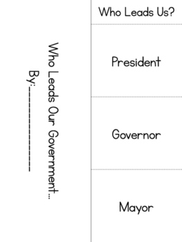 Who Leads Our Government Foldable