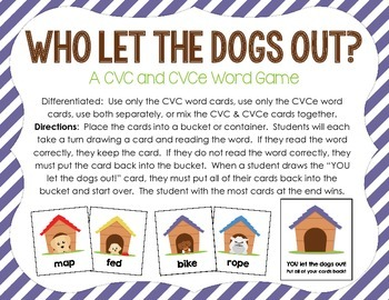 Who Let The Dogs Out?  A CVC & CVCe Word Card Game FREEBIE!
